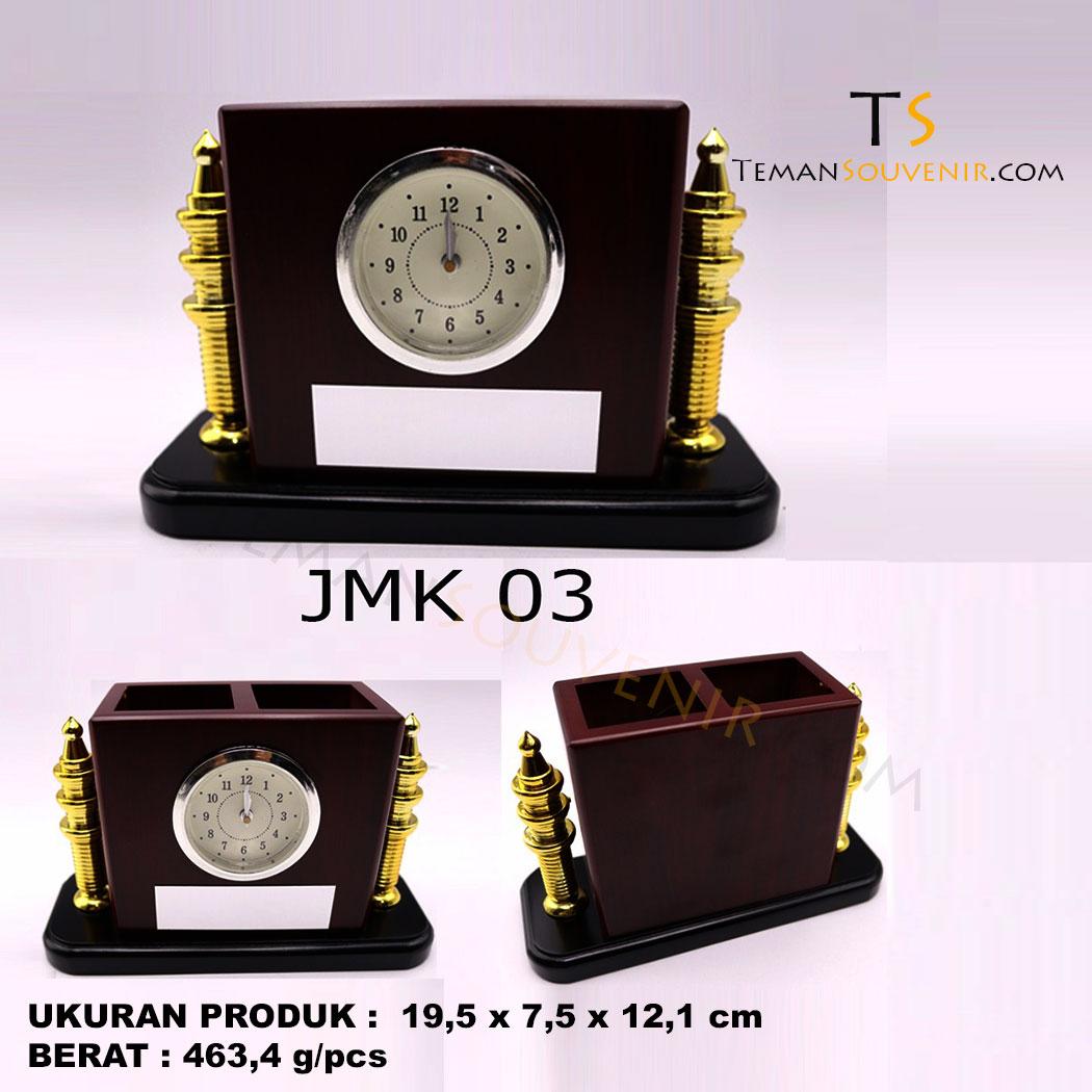 Jam Meja Kayu JMK 03, souvenir promosi, merchandise promosi, barang promosi, barang grosir