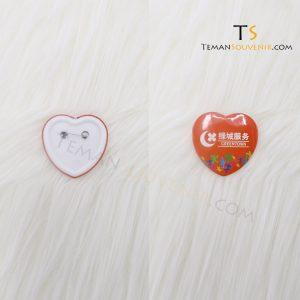 Pin Hati 5 cm Glossy, souvenir promosi, merchandise promosi, barang grosir, barang promosi